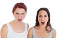 Closeup of two angry young female friends shouting portrait over white background Royalty Free Stock Images
