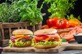 Closeup two burgers made ​​from fresh vegetables old wooden table Royalty Free Stock Photo
