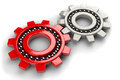Closeup of two gray and red gear bearings Royalty Free Stock Photo