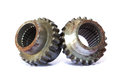 Closeup of two metal cog gears Royalty Free Stock Photo