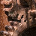 Closeup of two old rusty meshing gears Royalty Free Stock Photo