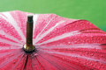 Closeup of umbrella with rain drops wet Stock Images