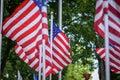 Closeup Of US Flags Waving In ...