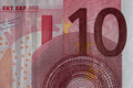 Closeup of a used 10 Euro paper money bill. Royalty Free Stock Photo