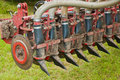 Closeup of a used manure injector (rear) Royalty Free Stock Photos