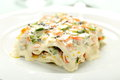 Closeup vegetarian lasagna with vegetables and cheese on dish Stock Image