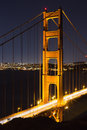 Closeup vertical view on north tower of Golden Gate Royalty Free Stock Photo