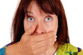 Closeup of a very scared woman. Royalty Free Stock Photo