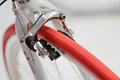 Closeup view of bike red wheel. Detail with red bike wheel isola Royalty Free Stock Photo