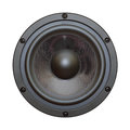 Closeup view of black bass speaker isolated on white Royalty Free Stock Image