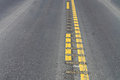 Closeup view of center rumble strips on a highway Royalty Free Stock Photo