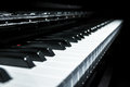 Closeup view of classical piano keys with modern black and white style Royalty Free Stock Photo