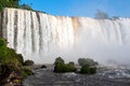Closeup view of iguassu falls is the largest series waterfalls on the planet located in brazil argentina and paraguay Stock Image