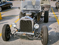 Closeup view of old classic retro vintage hot rod car Royalty Free Stock Photo