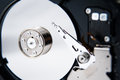 Closeup view open hard drive non volatile storage device Stock Photos