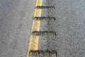 Closeup view of rumble strips on a road Royalty Free Stock Photo