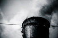 Closeup view of the steam train chimney black smoke comes out o a and white photography Stock Photography