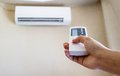 Closeup view about using some appliance such as air condition Stock Photo