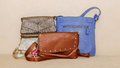 closeup view of various stylish fashionable leather ladies purses