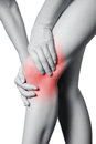 Closeup view of a young woman with knee pain. Royalty Free Stock Photo