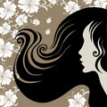 Closeup vintage woman with long hair with flower Royalty Free Stock Photo
