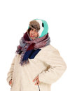 Closeup of warm dressed woman. Royalty Free Stock Photo