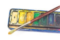 Closeup of watercolor paints and paintbrush on white Stock Photography