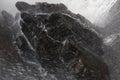 Closeup of waterfall landing on rock/water Royalty Free Stock Photo