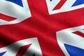 Closeup of waving flag of union jack, uk great britain england symbol Royalty Free Stock Photo