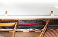 Closeup of white grand piano showing the strings pegs and sound detailed inside parallel Royalty Free Stock Photography