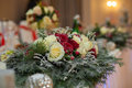 Closeup of white roses wedding bouquet at reception Royalty Free Stock Photo