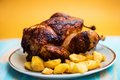Closeup of whole roasted french farm chicken Royalty Free Stock Photo