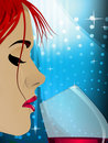 Closeup of a woman drinking wine Royalty Free Stock Photography