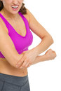 Closeup on woman with elbow pain isolated white Stock Photo