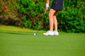 Closeup of woman golfer putting on the green Stock Photos
