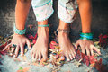 Closeup of woman hands and feet practice yoga Royalty Free Stock Photo