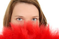 Closeup woman with red feather fan Royalty Free Stock Photography