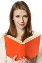 Closeup of woman student with opened book Stock Photos