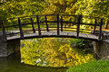 Closeup of a wooden bridge in a park Stock Images