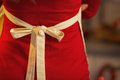 Closeup on young housewife in red dress wearing apron rear view kitchen Stock Photography
