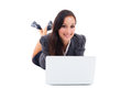 Closeup of young lady using laptop computer Royalty Free Stock Photo