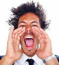 Closeup of a young man screaming out loud Royalty Free Stock Photography