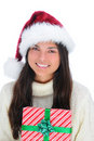 Closeup young woman with Christmas Present Stock Image