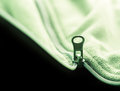 Closeup zipper opening green fleece jacket Royalty Free Stock Images