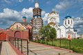 Closing construction of the church saints cathedral in moscow bibirevo moscow russia Stock Photography