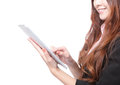 Closup of business woman smile using tablet pc Royalty Free Stock Image