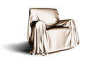 Cloth covered chair a armchair throwing a shadow Royalty Free Stock Photo