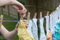 Cloth diapers on a clothesline laundry day mom hangs to dry in the sun Royalty Free Stock Photography