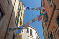 Cloth drying rope in quiet street of venice italy Royalty Free Stock Images