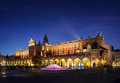 Cloth Hall Sukiennice building after sunset in Krakow city Royalty Free Stock Photo